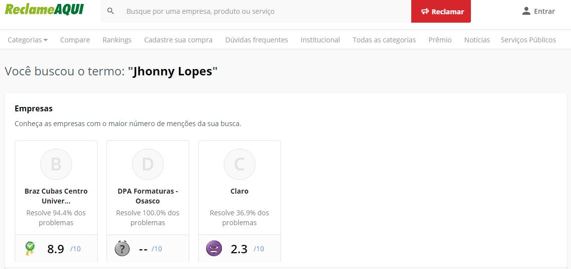 Jhonny Lopes Reclame Aqui