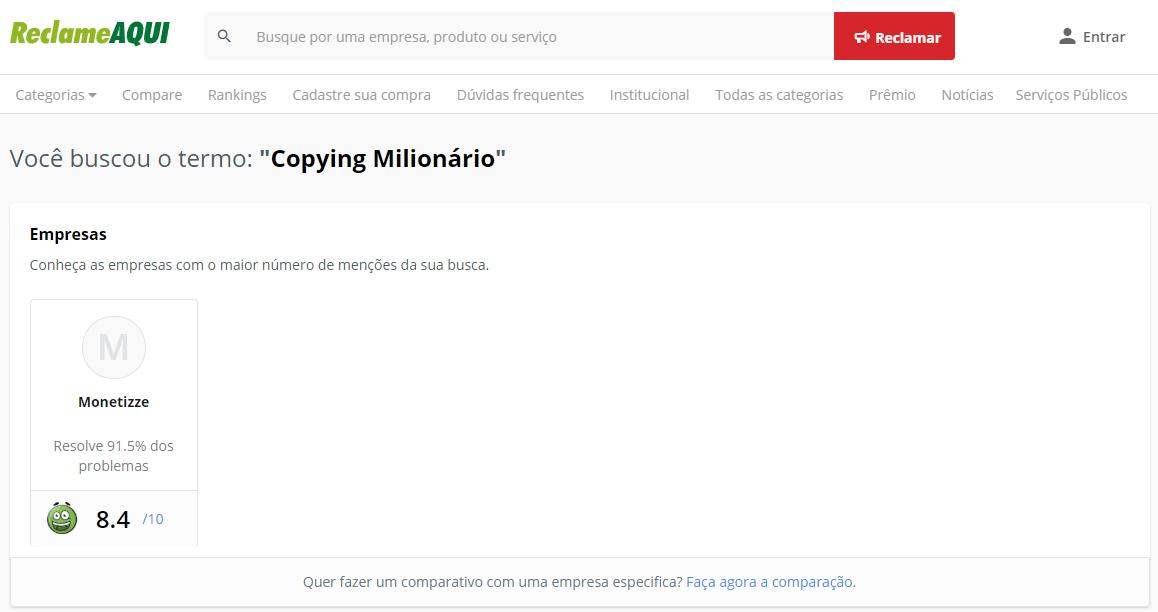 Copying Milionário Reclame Aqui
