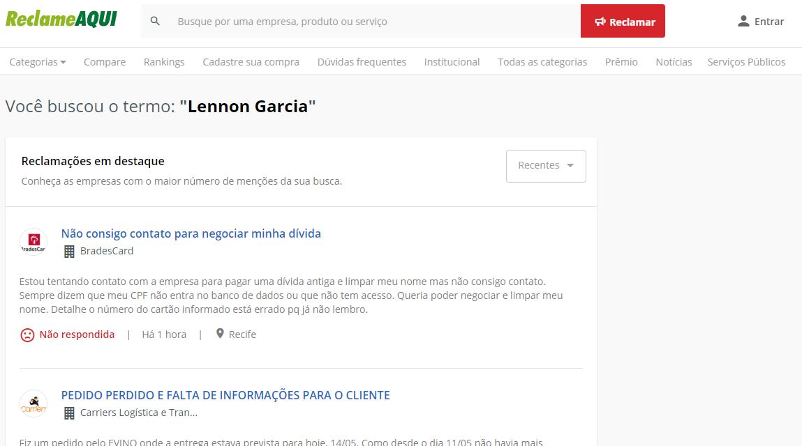 Lennon Garcia Reclame Aqui
