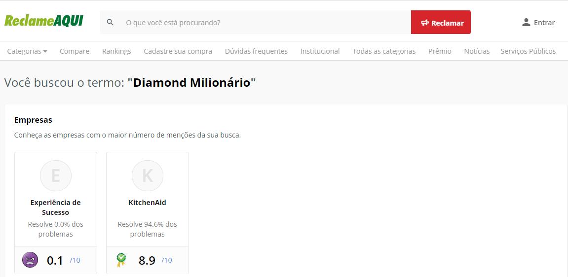 Diamond Milionário Reclame Aqui