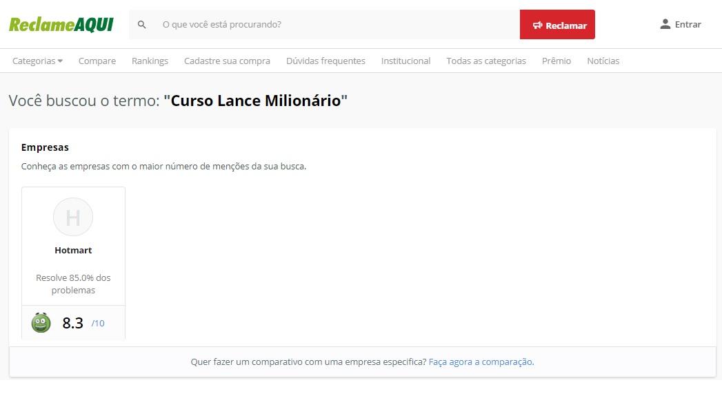 Curso Lance Milionário Reclame Aqui