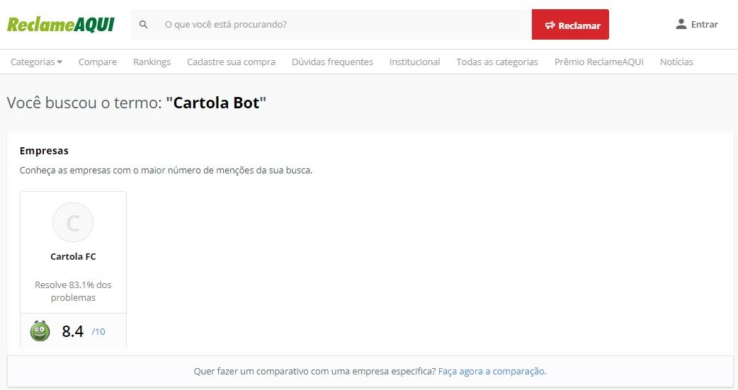 Cartola Bot reclame aqui